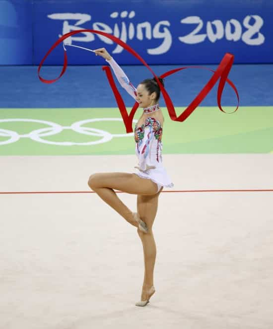 Anna Bessonova of Ukraine performs with the ribbon during the individual all-around final of the rhythmic gymnastics competition at the Beijing 2008 Olympic Games