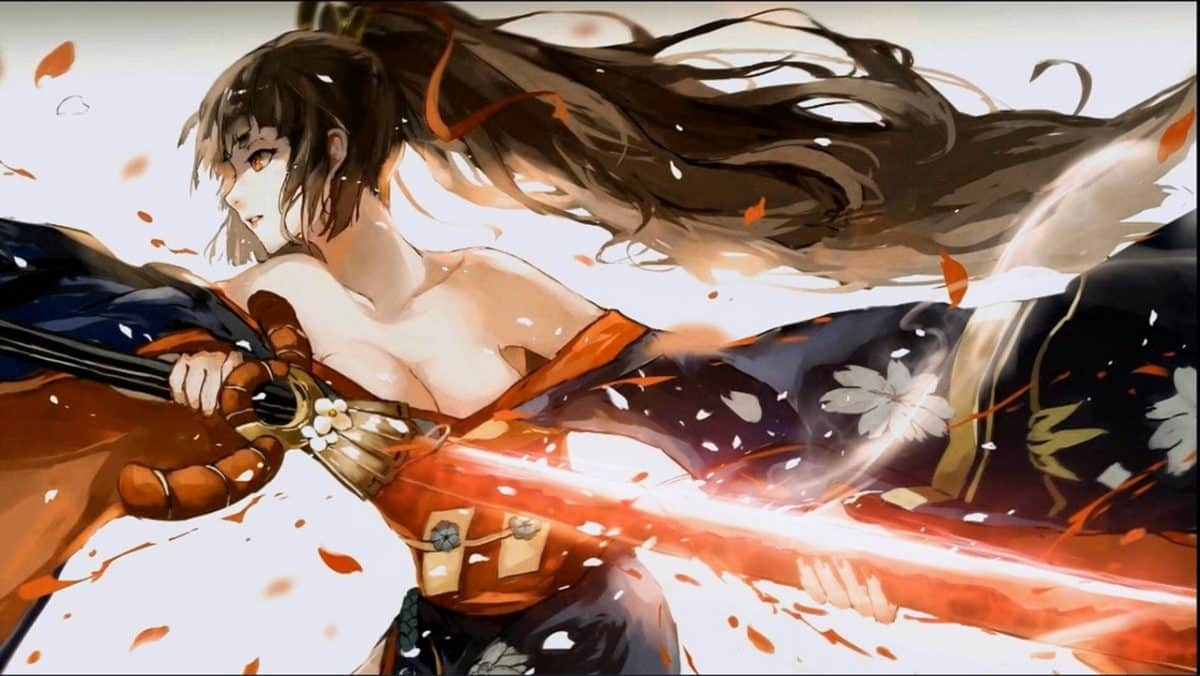 woman with sword anime action